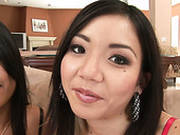 Dazzling Asian Girls Keeani Lei And Kyanna Lee Are Giving Awesome Double Blowjob
