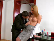 Naughty Blonde Gets A Double Penetration In An Office Threesome