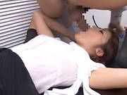 Japanese Office Girl Called Maki Gives A Hot Blowjob Indoors