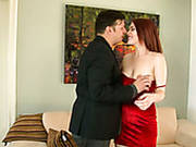 Dirty Wifey Enjoys Watching Her Dude Getting His Cock Sucked By Red Haired Hottie