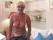 Fat, Blonde Granny Is Masturbating On The Couch, Not Knowing About A Hidden Camera Across Her