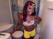 Cute Black Chick Chanell Heart Showing Us Her New Bathroom