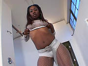 Sexy And Steaming Ebony In Fishnet Is On A Huge One